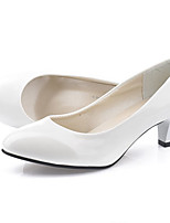 Women's Heels PU Spring Summer Chunky Heel White Black Beige Ruby 1in-1 3/4in