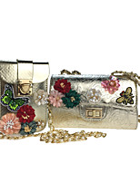 Women Bag Sets Poly urethane All Seasons Casual Outdoor Office & Career FlapRhinestone Appliques Pearl Detailing Bead Sequined Floral