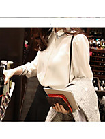 Women's Casual/Daily Simple Spring Blouse,Solid Shirt Collar Long Sleeve Polyester Thin