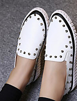 Women's Flats Comfort PU Spring Casual Screen Color Black White Flat
