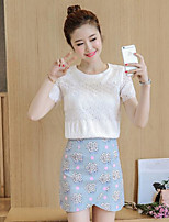 Women's Casual/Daily Simple Spring T-shirt Skirt Suits,Floral Round Neck Short Sleeve Lace