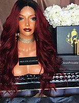Ombre T1B/Burgundy Lace Front Wigs Human Hair Body Wave for Woman 180% Density Brazilian Virgin Hair Glueless Lace Wig with Baby Hair