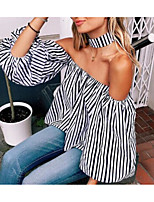 Women's Casual/Daily Simple Shirt,Striped Strapless Long Sleeve Cotton Bamboo Fiber