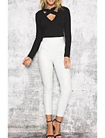 Tee-shirt Femme,Couleur Pleine Décontracté / Quotidien Sortie Sexy simple Chic de Rue Eté Manches Longues Col en V Coton Moyen Fin