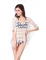 Damen Blumen Sexy Strand Bluse Kleid Anzüge,Rundhalsausschnitt Sommer 1/2 Ärmel Spitze Bestickt Quaste Mikro-elastisch