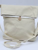 Women Shoulder Bag Canvas All Seasons Casual Shopper Button Beige