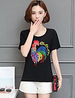 Women's Going out Casual/Daily Simple Summer T-shirt,Solid Round Neck Short Sleeve Cotton Medium