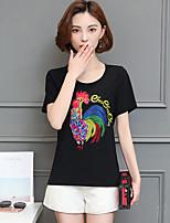 Feminino Camiseta Simples Verão,Sólido Algodão Decote Redondo Manga Curta Média
