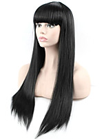 Popular Black Color Long Straight Synthetic Wigs For Afro Women