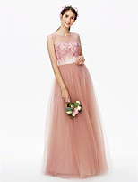 2017 LAN TING BRIDE Floor-length Jewel Bridesmaid Dress - See Through Floral Sleeveless Tulle
