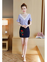 Women's Casual/Daily Cute Spring Summer Shirt Skirt Suits,Striped Floral Round Neck Short Sleeve Lace Micro-elastic