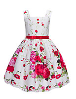Girl's Floral Dress,Cotton Polyester Sleeveless