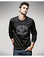 Men's Daily Casual Hoodie Print Round Neck Micro-elastic Polyester Long Sleeve Spring