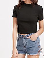 T-shirt Da donna Sensuale Semplice Moda città Estate,Tinta unita Girocollo Cotone Manica corta Sottile Medio spessore