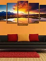 Art Print Landscape Modern Five Panels Horizontal Pigment Print Wall Decor For Home Decoration