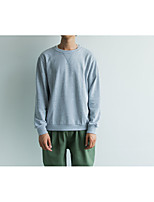 Men's Plus Size Casual/Daily Simple Sweatshirt Solid Oversized Round Neck Fleece Lining Micro-elastic Cotton