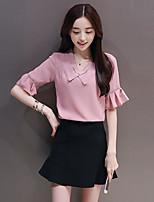 Damen einfarbig Niedlich Ausgehen Bluse Rock Anzüge,V-Ausschnitt Sommer ½ Ärmel Rüsche Mikro-elastisch