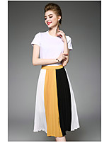 OYCP Women's Daily Contemporary Summer T-shirt Skirt SuitsSolid Color Block Round Neck Short Sleeve