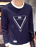 Men's Daily Casual Modern/Comtemporary Sweatshirt Solid Geometric Letter & Number Pure Color Round Neck Micro-elastic Cotton OthersLong