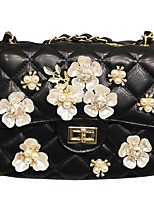 Women Shoulder Bag PU All Seasons Casual Flap Snap Black White