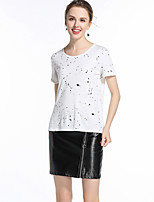 Women's Casual/Daily Simple Summer T-shirt,Print Round Neck Short Sleeve Cotton Medium