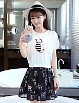Women's Casual/Daily Simple Summer T-shirt Skirt Suits,Print Round Neck Short Sleeve Micro-elastic