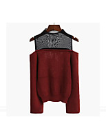 Women's Going out Street chic Regular Pullover,Solid Turtleneck Long Sleeve Cotton Fall Winter Medium Micro-elastic