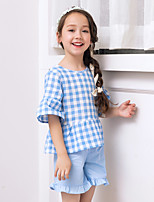 Girls' Plaid/Check Sets,Cotton Summer Half Sleeve Clothing Set