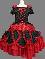 Une Pièce/Robes Gothique Lolita Cosplay Vêtrements Lolita Rétro Mancheron Manches Courtes Court / Mini Robe Pour