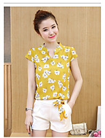 Women's Casual/Daily Simple T-shirt Pant Suits,Solid Floral Crew Neck Short Sleeve