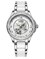 Mulheres Relógio de Moda relógio mecânico Automático - da corda automáticamente Impermeável Cerâmica Banda Branco