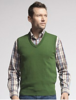 U&Shark Men's Pure Green Fashion Casual Business V-Neck Wool Vest /bx-27