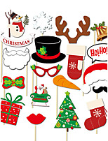 19pcs Christmas Party Photo Booth Props Photobooth Party Decoration