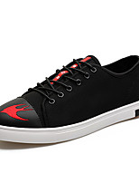 Men's Athletic Shoes Comfort PU Spring Summer Casual Outdoor Running Comfort Flat Heel White Black Ruby Flat