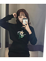 Women's Casual/Daily Simple Sweatshirt Solid Round Neck Micro-elastic Cotton Long Sleeve Winter