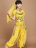 Dança do Ventre Étnico Mulheres Apresentação stretch chiffon Fio de seda 3 Manga Curta Caído Xale