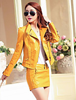 Women's Casual/Daily Simple Fall Leather Jacket,Solid Notch Lapel Long Sleeve Short PU