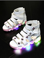 Fille Sandales Premières Chaussures Polyuréthane Printemps Automne Décontracté Premières Chaussures Scotch Magique Talon Plat Blanc Rose