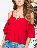 Women's Going out Casual/Daily Sexy Simple Street chic Ruffle Backless Off-the-shoulder Spring Summer T-shirtSolid Strap  Length Sleeve Medium