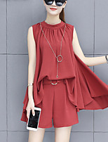 Women's Going out Work Street chic Summer Fashion Loose Blouse Pant Suits Solid Crew Neck Sleeveless Pleated Micro-elastic