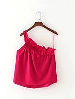 T-shirt Da donna Sensuale Semplice Moda città Estate,Tinta unita Monospalla Cotone Senza maniche Sottile Medio spessore