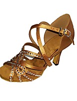 Women's Latin Satin Sandals Heels Indoor Rhinestones Buckle Stiletto Heel Dark Brown Dark Red Black2