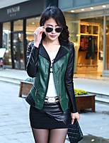 Women's Daily Simple Spring Leather Jacket,Color Block Shirt Collar Long Sleeve Regular Others