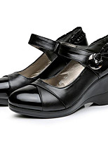 Women's Sneakers Comfort Cowhide Nappa Leather Spring Casual Black Flat