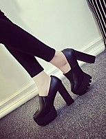 Women's Heels Comfort Real Leather PU Spring Casual Comfort Black 3in-3 3/4in