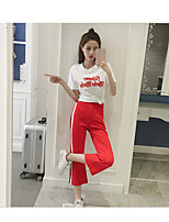 Women's Casual/Daily Simple T-shirt Pant Suits,Letter U Neck Short Sleeve Micro-elastic