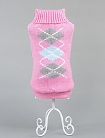 Dog Sweater Dog Clothes Casual/Daily Geometic Blushing Pink Gray