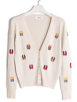 Women's Casual/Daily Simple Regular Cardigan,Embroidered Red White Beige Black Green V Neck Long Sleeve Cotton Spring Fall Medium