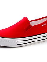 Для женщин Мокасины и Свитер Удобная обувь Полотно Весна Повседневные Удобная обувь Белый Черный Красный На плоской подошве