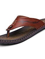 Men's Slippers & Flip-Flops PU Spring Summer Low Heel Yellow Khaki Under 1in